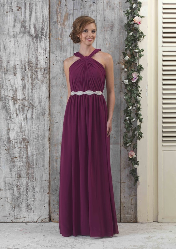 EN335-Chiffon-bridesmaids-Halter-neck-full-length-gown-with-pleated-front-with-LBE333-Belt_72px